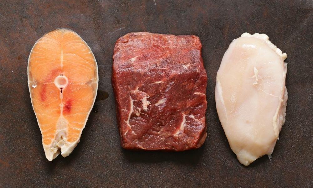 raw meat fish chicken ingredients